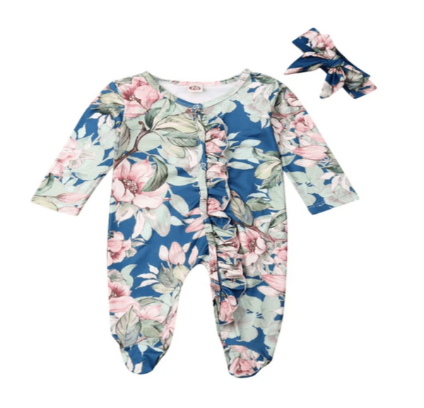 Gracey Blue Floral Ruffled One Piece Pajama - Elias's Journey
