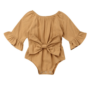 Kimberly Bell Sleeve Baby Girl Romper - Elias's Journey