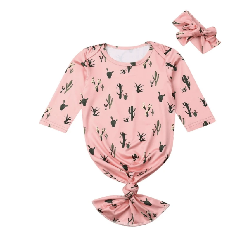 Knotted Baby Gown & Bow- Cactus Cutie - Elias's Journey