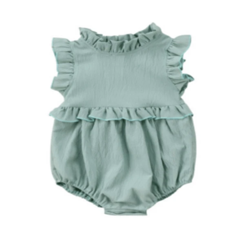 Mint Green Sleeveless Ruffled Romper - Elias's Journey