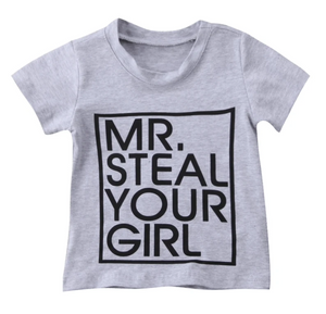 Mr. Steal Your girl T-Shirt (Gray) Baby Boy/Toddler - Elias's Journey