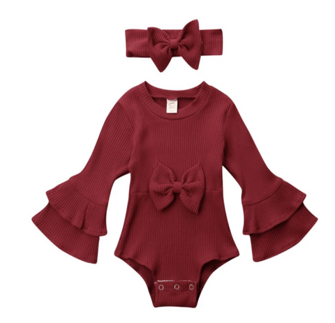 Elias's Journey Noel Ribbed Romper & Matching Bow