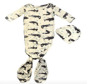 Knotted Shark Print Baby Gown & Beanie - Elias's Journey