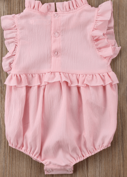 Pink Ruffled Sleeveless Romper - Elias's Journey