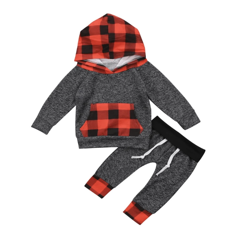 Baby Boy Sweat Pants & Hoodie Set - Perfectly Plaid - Elias's Journey