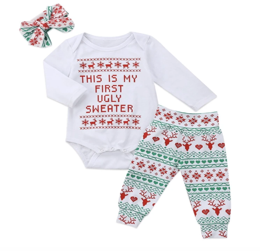 """This is My First Ugly  Sweater"" Baby Outfit Set - Elias's Journey"