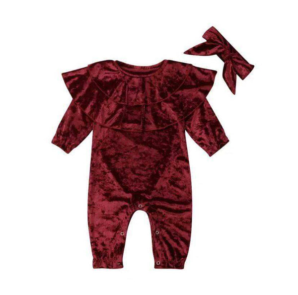 Elias's Journey Velveteen Dream Romper & Bow Set