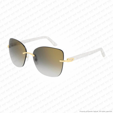 Cartier - Ct0001Rs Gold & White/grey Flash (001) Sunglasses