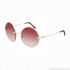 Cartier - Ct0002Rs Gold/red Orange Flash (001) Sunglasses