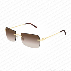 Cartier - Ct0006Rs Gold/brown Gradient (001) Sunglasses