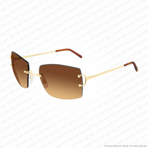Cartier - Ct0009Rs Gold/brown Gradient Flash (001) Sunglasses