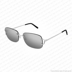 Cartier - Ct0011Rs Silver/grey Mirror + Anti Reflective (001) Sunglasses