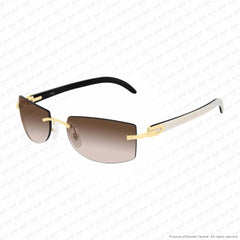 Cartier - Ct0017Rs Gold & White On Black Horn/brown Gradient Flash (001) Sunglasses