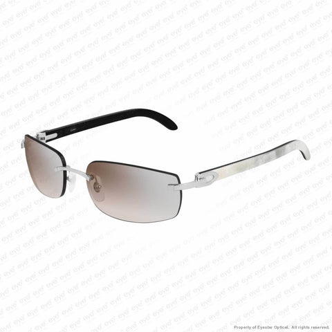 Cartier - Ct0018Rs Silver & White On Black Horn/silver Brown Flash (001) Sunglasses