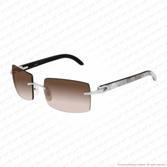 Cartier - Ct0019Rs Silver & White On Black Horn/brown Gradient (001) Sunglasses