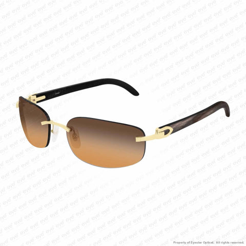 Cartier - Ct0020Rs Gold & Black Horn/brown Bronze Gradient (001) Sunglasses