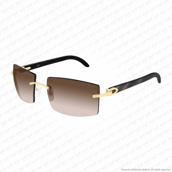 Cartier - Ct0021Rs Gold & Black Horn/brown Gradient (001) Sunglasses