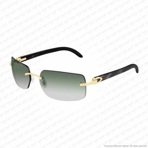 Cartier - Ct0022Rs Gold & Black Horn/green Gradient (001) Sunglasses