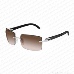 Cartier - Ct0024Rs Silver & Black Horn/brown Gradient (001) Sunglasses