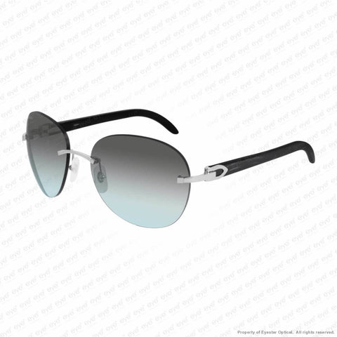 Cartier - Ct0025Rs Silver & Black Horn/grey To Blue Gradient (001) Sunglasses