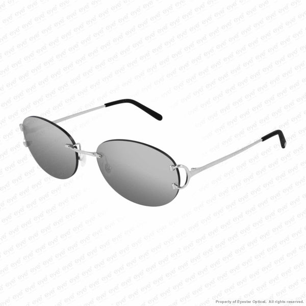 Cartier - Ct0029Rs Silver/silver Grey Mirror (001) Sunglasses