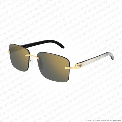 Cartier - Ct0030Rs Gold & White On Black Horn/grey Flash (001) Sunglasses