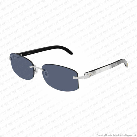 Cartier - Ct0031Rs Silver & White On Black Horn/blue Anti-Reflect (002) Sunglasses