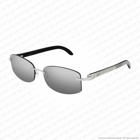 Cartier - Ct0031Rs Silver & White On Black Horn/grey Gradient Flash (001) Sunglasses