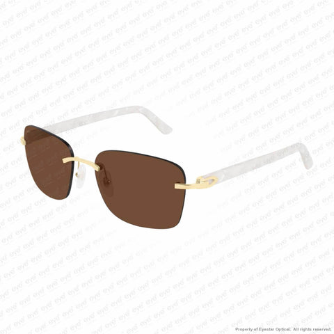 Cartier - Ct0034Rs Gold & White Horn/brown Anti-Reflect (001) Sunglasses