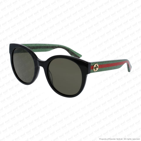 Gucci - Gg0035S Black & Green Red Stripe/green (002) Sunglasses