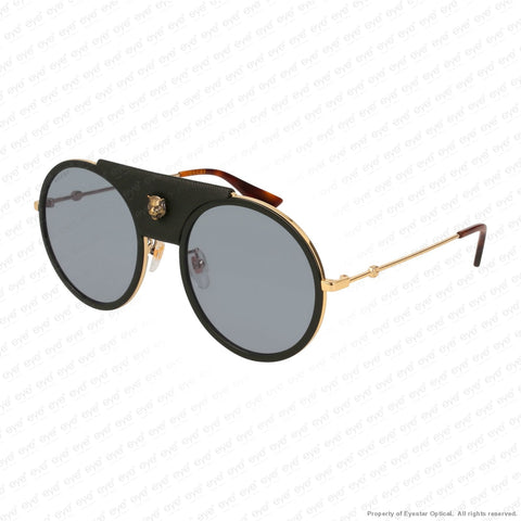 Gucci - Gg0061S Black Leather & Gold/grey (016) Sunglasses