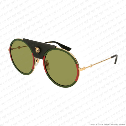 Gucci - Gg0061S Red Green Leather & Gold/green (017) Sunglasses