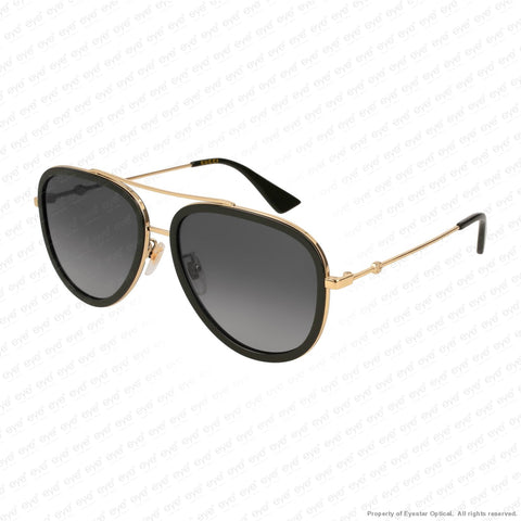 Gucci - Gg0062S Black & Gold/polarized Grey Gradient Flash (011) Sunglasses