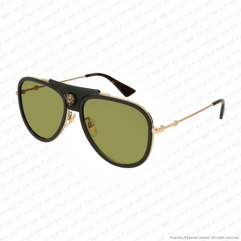 Gucci - Gg0062S Black Leather & Gold/green (014) Sunglasses
