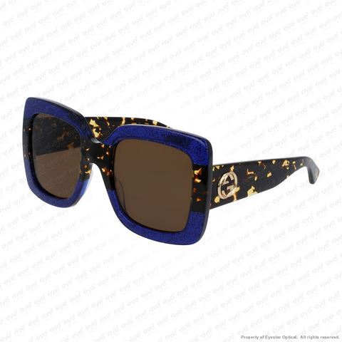Gucci - Gg0083S Blue Havana/brown (003) Sunglasses