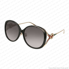 Gucci - Gg0226Sk Black & Gold/grey (001) Sunglasses