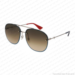 Gucci - Gg0227S Blue Sparkle & Ruthenium/brown Gradient (002) Sunglasses