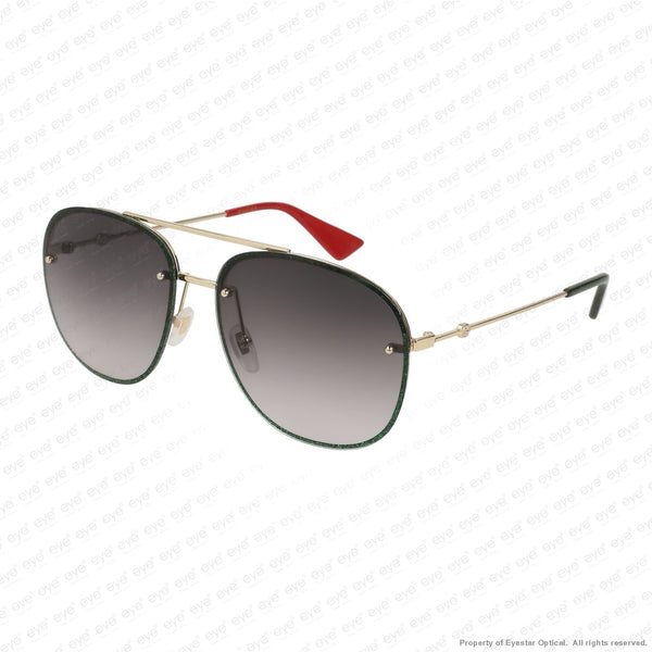 Gucci - Gg0227S Green Sparkle & Gold/grey Gradient (001) Sunglasses