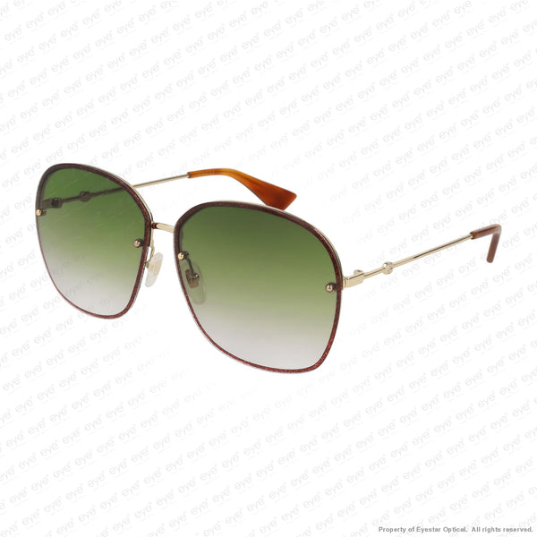 Gucci - Gg0228S Red Sparkle & Gold/green Gradient (001) Sunglasses