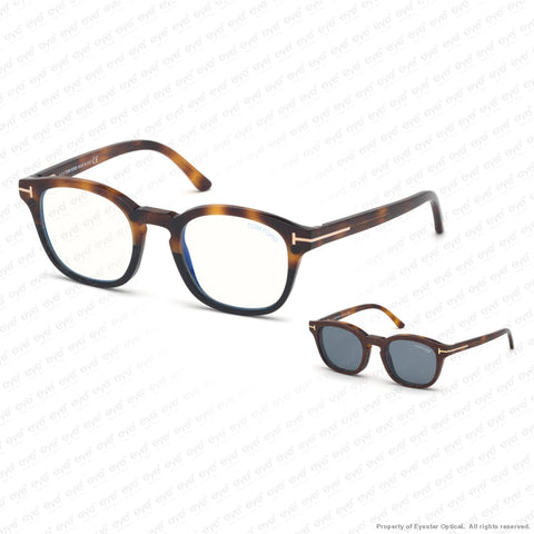 Tom Ford - Ft5532-B Havana To Black/vintage Blue Clip-On In Brown Leather (56V) Sunglasses