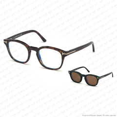 Tom Ford - Ft5532-B Havana/brown Clip-On In Brown Leather (52J) Sunglasses