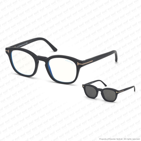 Tom Ford - Ft5532-B Matte Black Blue/smoke Clip-On (02A) Sunglasses