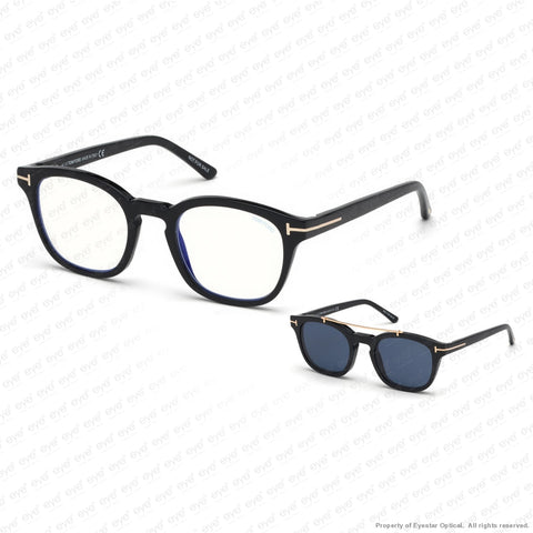 Tom Ford - Ft5532-B Shiny Black/blue Clip-On (01V) Sunglasses