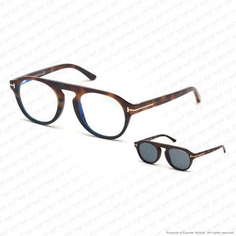 Tom Ford - Ft5533-B Havana To Black/vintage Blue Clip-On In Brown Leather (56V) Sunglasses