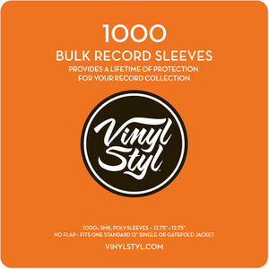 "Vinyl Styl™ 12.75"" X 12.75"" 3 Mil Protective Outer Record Sleeve 1000CT Bulk Pack"