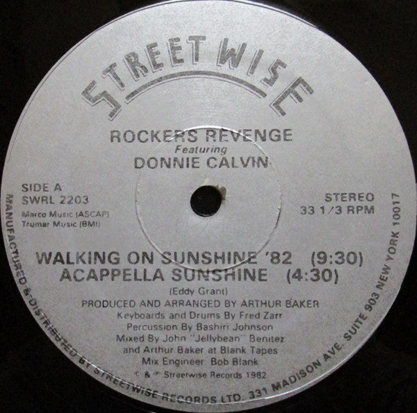 Rockers Revenge Featuring Donnie Calvin - Walking on Sunshine '82 - Pre-owned Vinyl