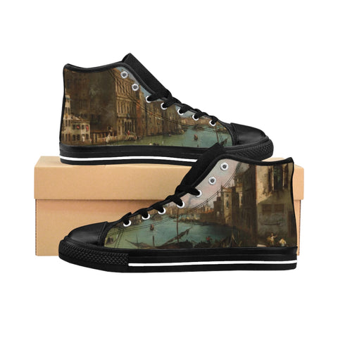 ''Canaletto, Venice'' Women's High-top Sneakers - artforshoes