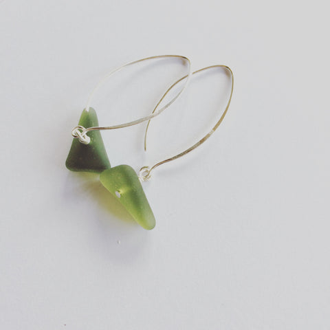 Green Sea Glass on Wish Bone Ear Hooks