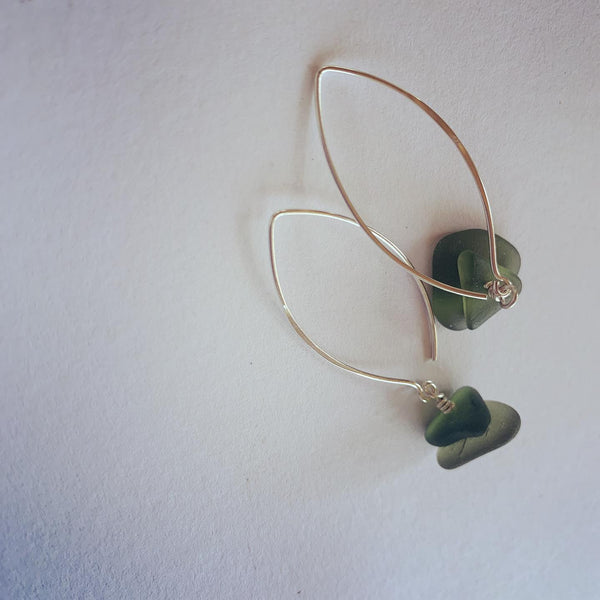 Serenity Stack on Wish Bone Green Beach Glass Earrings