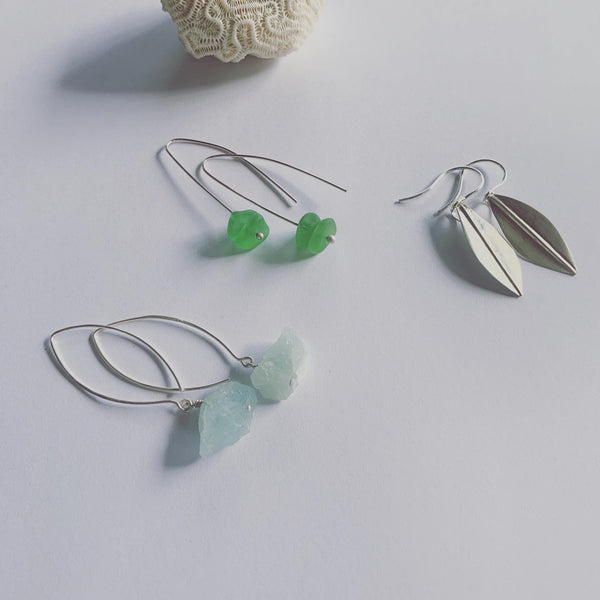 Raw Gem Stone Wishbone Earrings